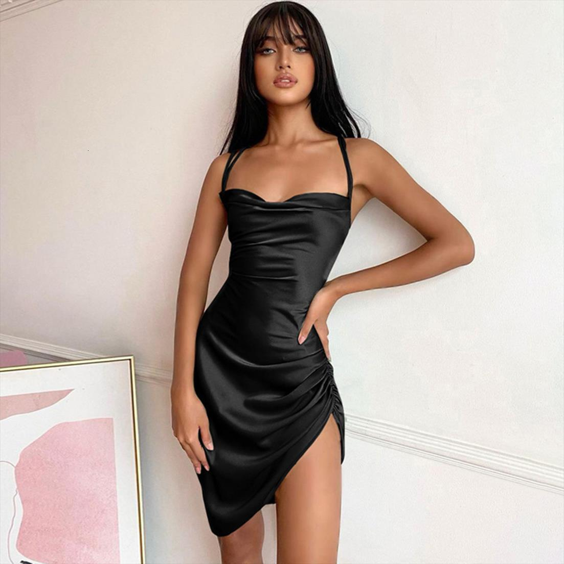 Satin Strap Mini Ruched Womens Dresses Lace Up Cross Bandage Backless Bodycon Sexy Party Club Christmas Slim