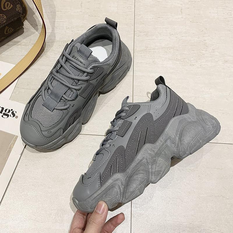 Женщины Коренастые кроссовки 2021 весенние женские толстые подошвы дышащие сетки кроссовки мода высокая платформа вскользь папа обувь серый черный