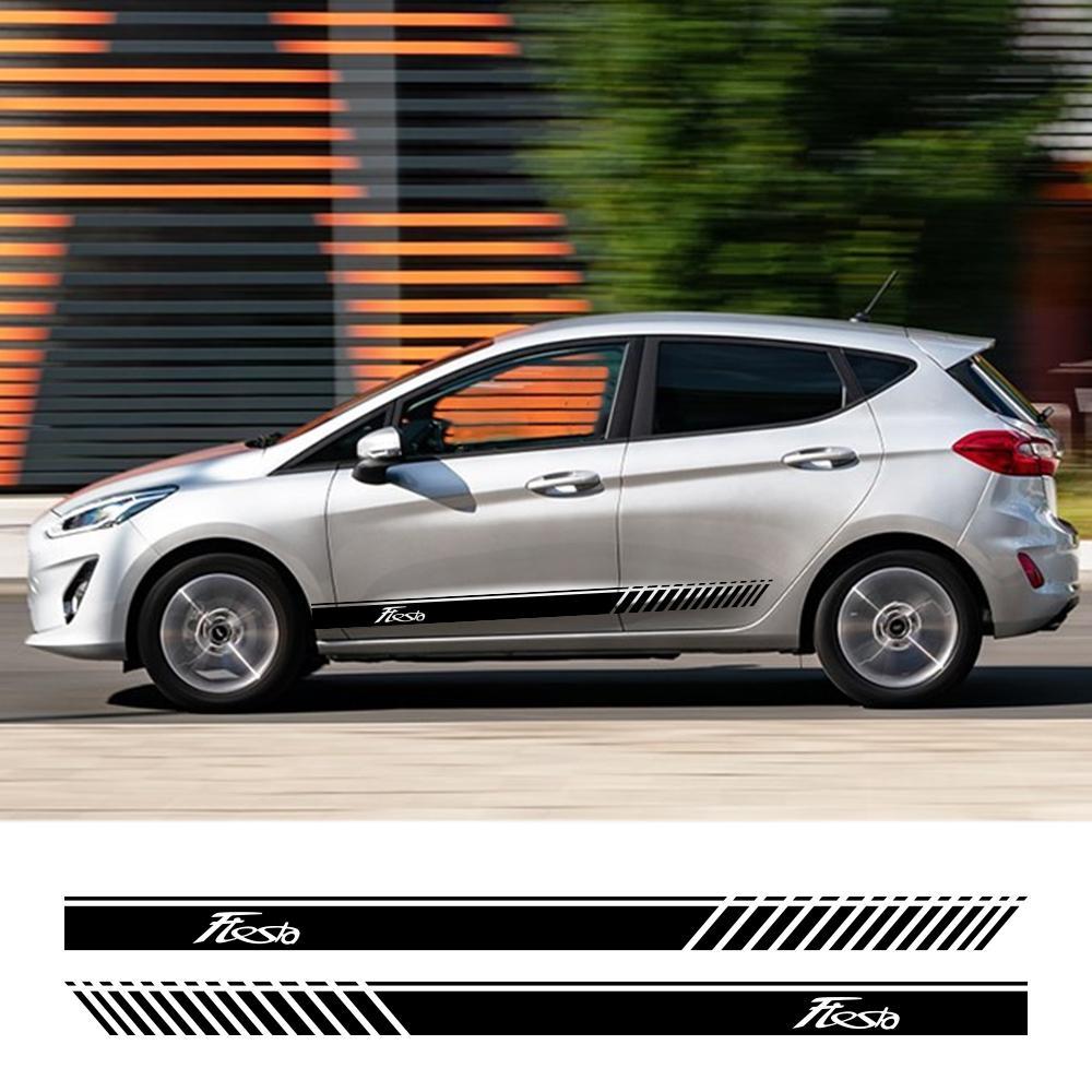 2pcs 경주 양쪽 자동차 문 사이드 스커트 줄무늬 스티커 Ford Fiesta 자동차 바디 장식 그래픽 비닐 PVC 데칼 액세서리