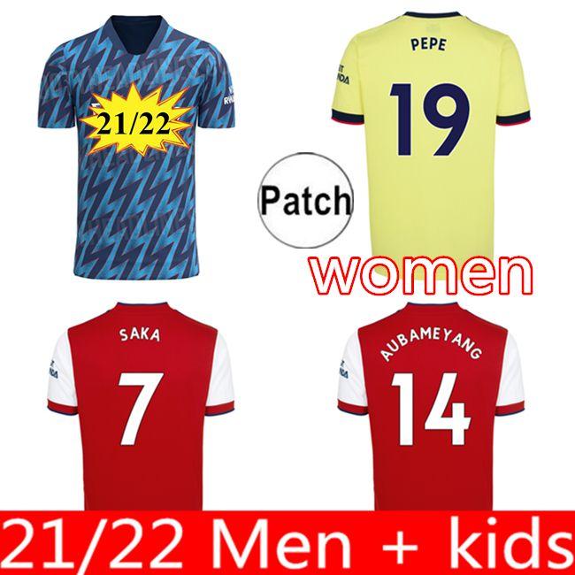팬 선수 버전 Arsen 축구 유니폼 21 22 Gunners Odegaard Thomas Pepe Saka Tierney Henry Willian Smith Rowe 2021 2022 축구 셔츠 아이 세트 유니폼 여성