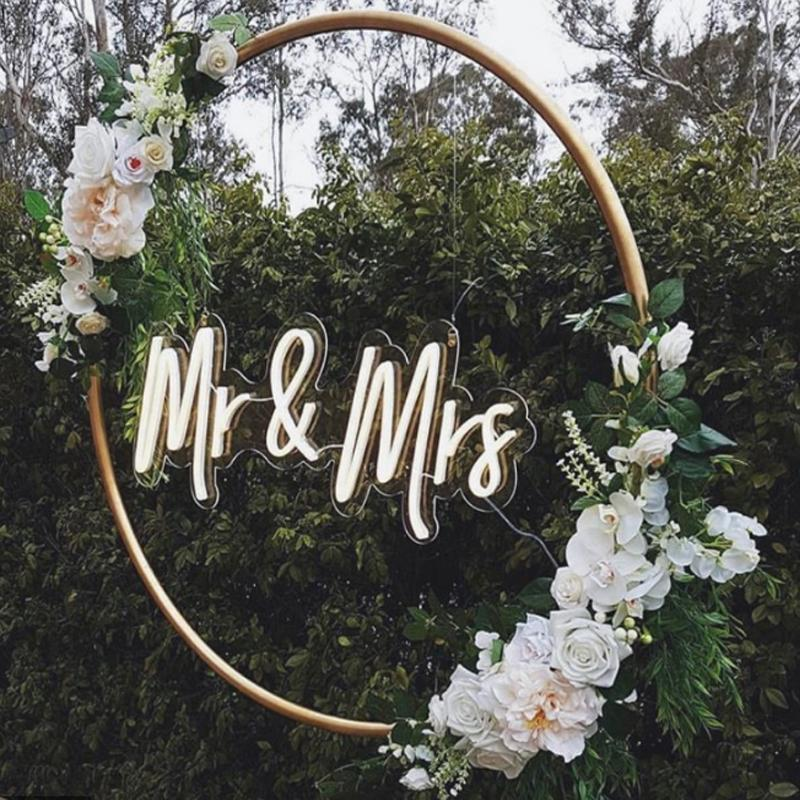 Mr & Mrs Flex Led Custom Neon Sign Light Ins Wall Decor 12V 3D waterproof Outdoor Wedding party marriage decoration