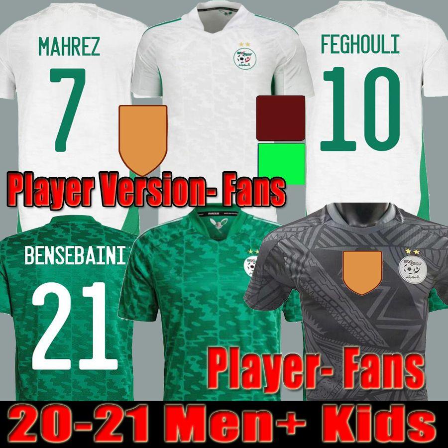 2021 2022 Algerie Player Versión Fans Soccer Jersey Home Away Speical Mahrez Bounedjah Feghouli Bennacer Atal 20 21 22 Argelia Maillot de Foot Hombres Niños