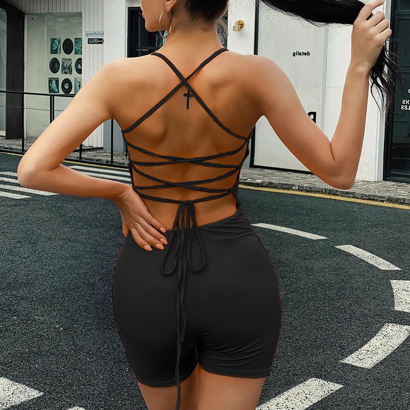 Omsj - Backless Tight Hoodie, sexy sleeveless Straßenkleidung, feste Shorts, Frauen-Overall im Jahr 2020