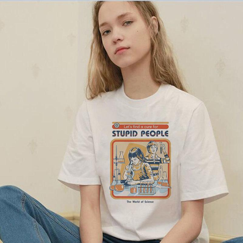 Estate 2019 Vintage Harajuku Divertente Estetica Bianco Coppia T-Shirt Donna Moda Casual Stampa manica corta Tops Camiseta Mujer