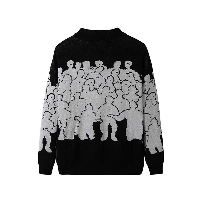 Мода свитер мужские хлопковые вышивки тянуть Homme свитер мужская одежда корейская одежда негабаритный вязаный свитер пальто нет Quit 3XL 201022
