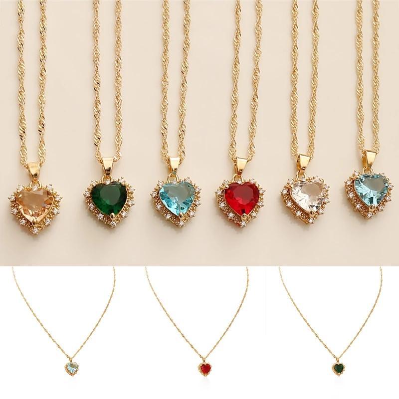 قلادة للنساء الذهب سلسلة متعدد الألوان الزركون القلب قلادة خمر القلائد الترقوة سلسلة مجوهرات المختنق سحر الهدايا الفاخرة
