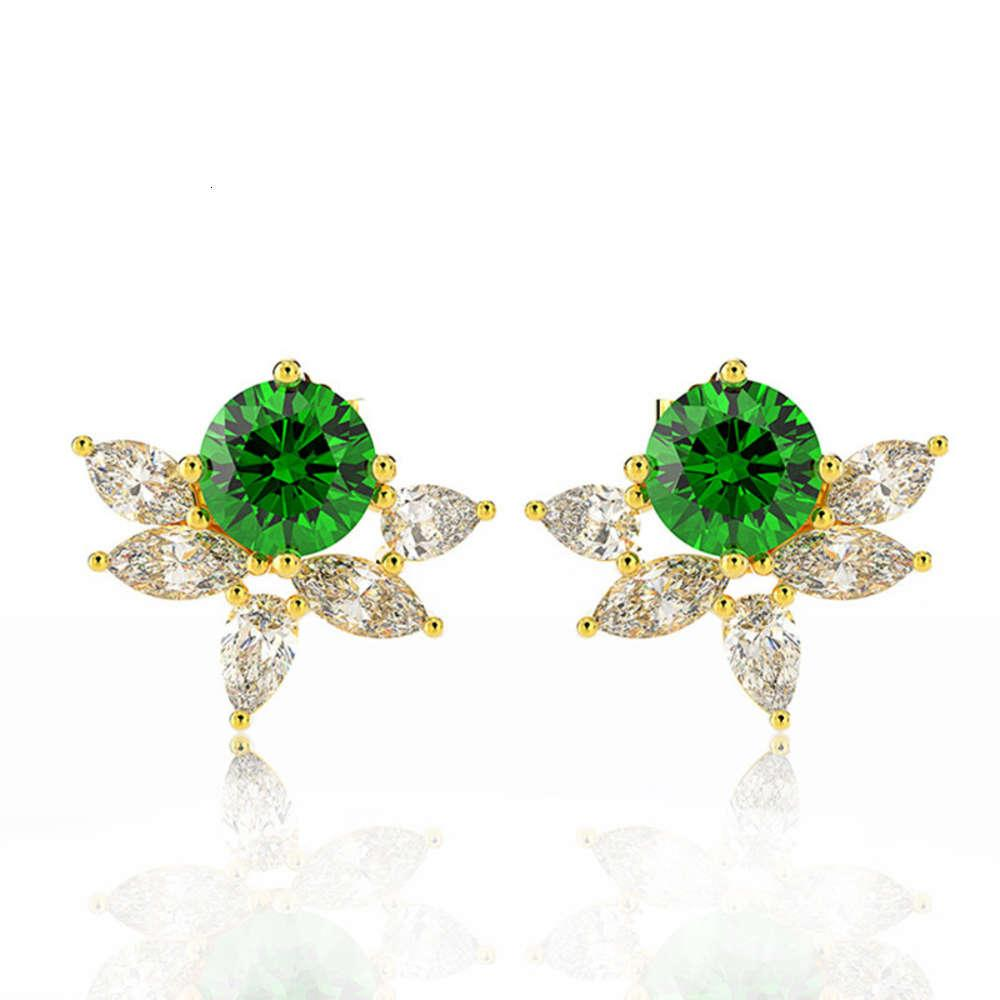 HBP fashion luxury summer new small fresh natural emerald Zircon copper plated 18K Gold Earrings