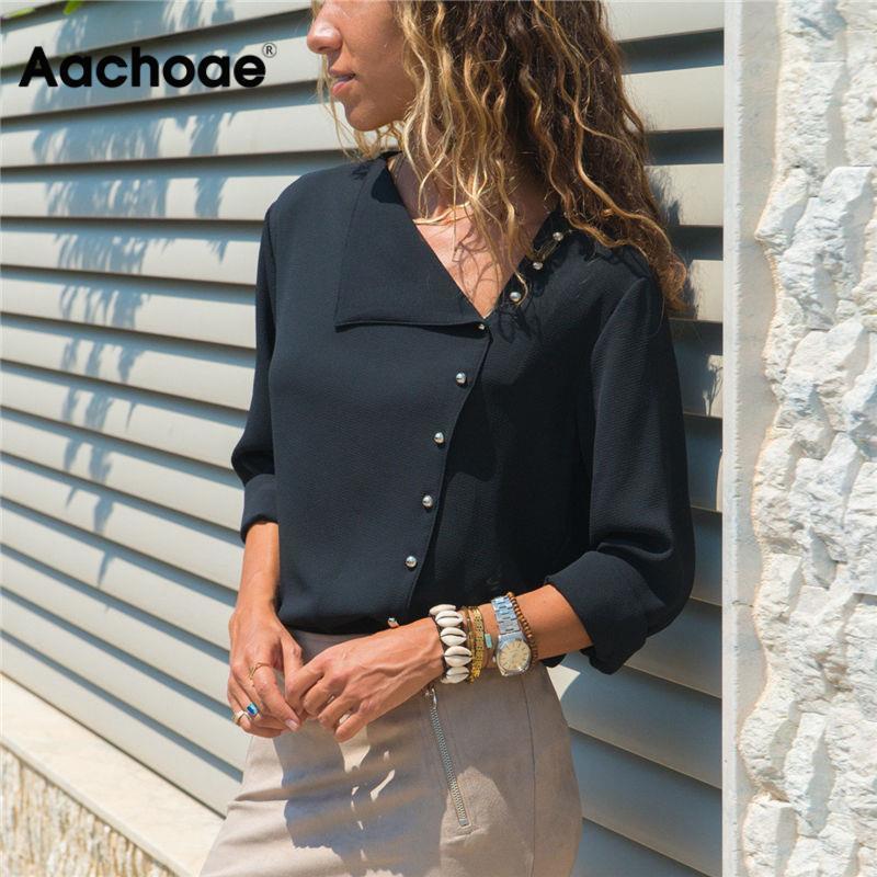 Aachoae blouse mode manches longues femmes blouses et tops Collier Skew Collier Solid Bureau Shirt Casual Tops Blusas Chemise Femme 210311