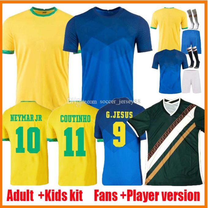 Brasils 2021 Jerseys de fútbol Versión de jugadores Camiseta Futbol Paqueta Neres COUTINHO Camisas de fútbol Firmino Jesús Marcelo 21 22 Maillot de Foot Brasil Kits Kits