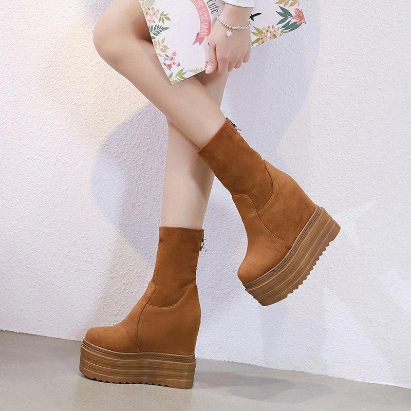 2020 Новые Женские Сапоги Мода Увеличить 14 см Толстые Ботинки Толстые Ботинки Водонепроницаемая платформа Высокий каблук Маффин Нижний L7EO #