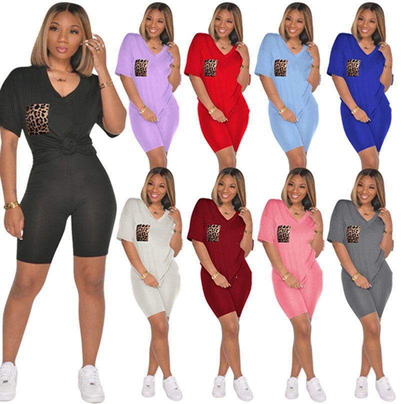 Плюс Размер 2xL Женщины Сексуальные трексуиты Футболка Шорты 2 шт. Наборы Летняя одежда Обытия простой моды с коротким рукавом повседневная леопардовые рубашки + капризный спортивный костюмы 4636