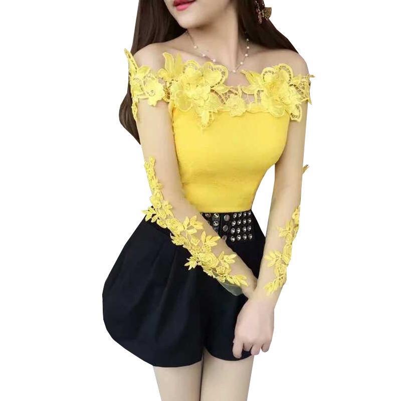 Primavera estate camicia da donna dolce dolce floreale camicetta da donna manica lunga slash collo backles maglia camicette corto Blusas top 830 210226