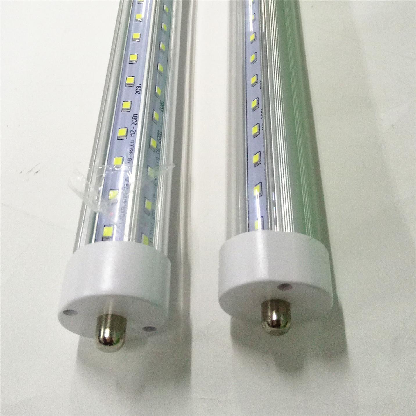 T8 LED أنابيب الأنابيب على شكل حرف V 8FT 7000LM 66W واحد دبوس FA8 R17D AC85-265V 384LEDS 2835SMD المصابيح الفلورية 2400mm مباشرة من الصين مصنع