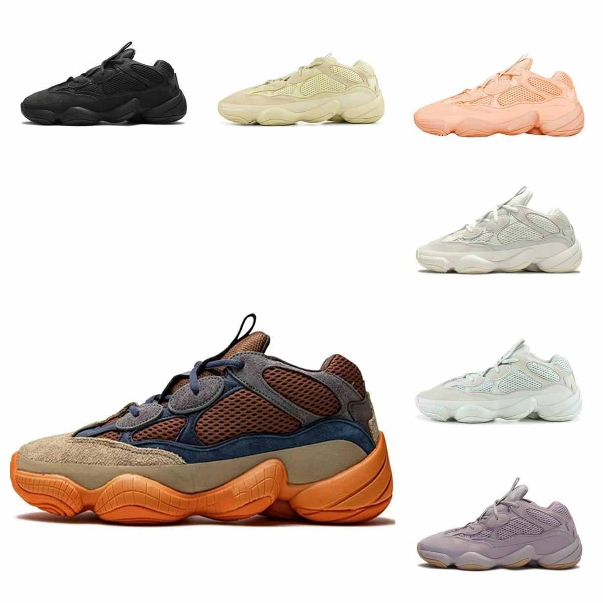 2021 Kanye West 500 Mens Runner Shoes 소프트 비전 스톤 뼈 흰색 유틸리티 블랙 슈퍼 달 노란색 반사 남자 야외 운동화 #bn