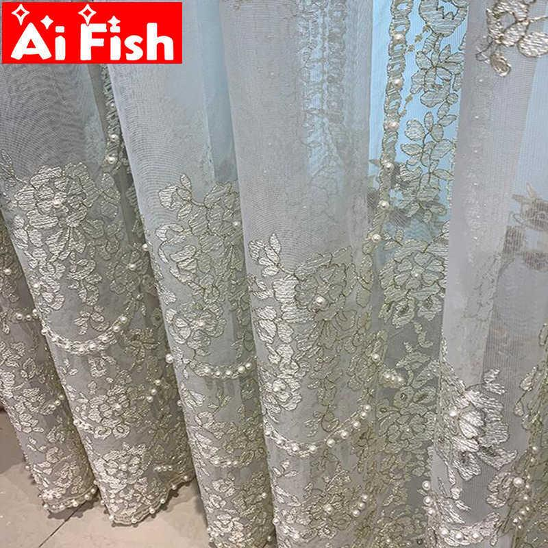 Delicate White Pearl Sheer Voile Luxury Embroidered Tulle Curtain for Living Room Romantic Gold Wire Line Wedding Decor M201-5 210623