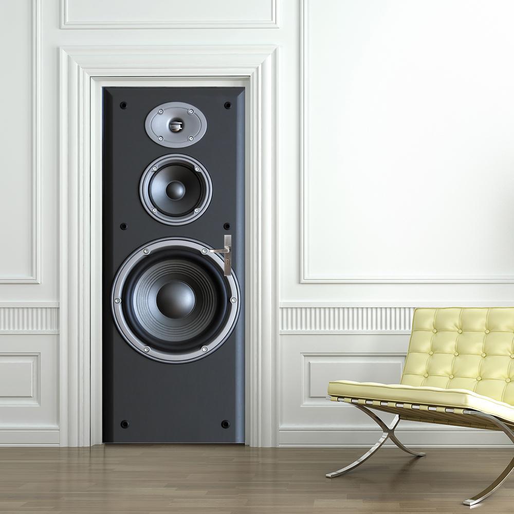 Frete Grátis DIY 3D Som Sound Padrão Padrão Da Porta Adesivo Para Quarto Sala de Estar Poster PVC Decalque Impermeável 77 * 200cm 210308