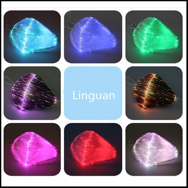 LED 안티 먼지 마스크 7 색 변경 가능한 발광택 브레이크 댄스 DJ 음악 파티 할로윈 보호를위한 USB 충전 얼굴 마스크