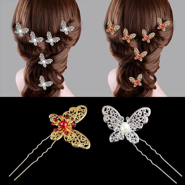 Свадебные наушники пластины аксессуары для волос большие бабочки волосы вилка U-образные клипные головные уборные волосы Paintpin Pearl Diamond Pin Cairpins красный и белый