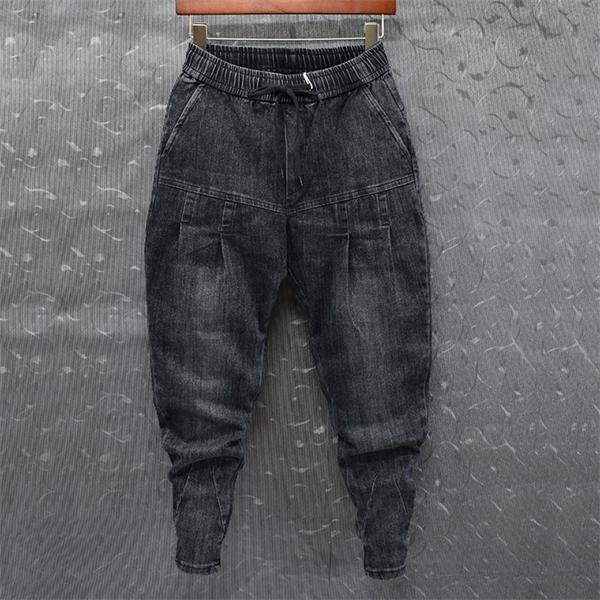 IDOPY Mode Hommes Denim Harem Joggers Patchwork Bouchette Mift Fit Slim Fit Taille élastique Street Street Pantalon Hip Hop pour Homme C0222
