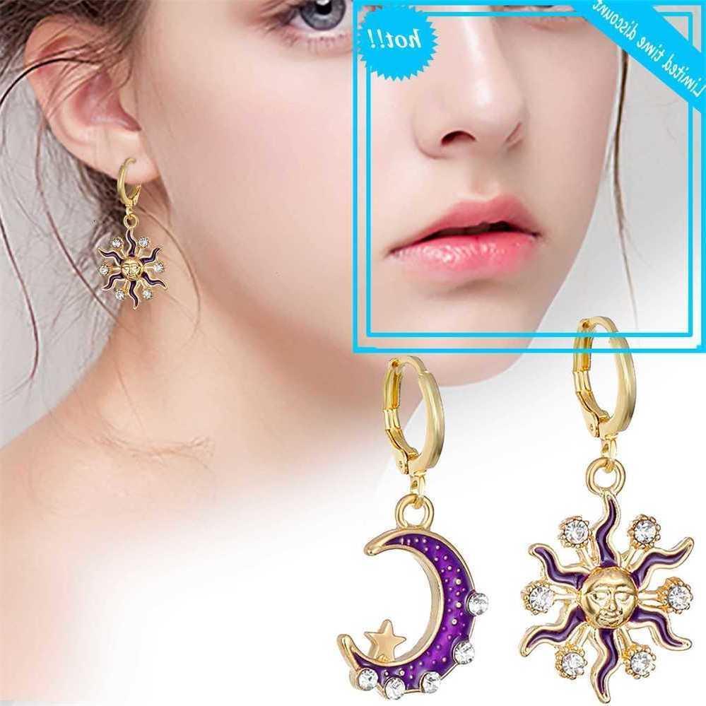 Mond Sun Geometrische Strass Neue 2019 Vertragsgemäße asymmetrische Kristall Mode Tropfen Ohrringe Zierliche Stil Frauen Ohrring