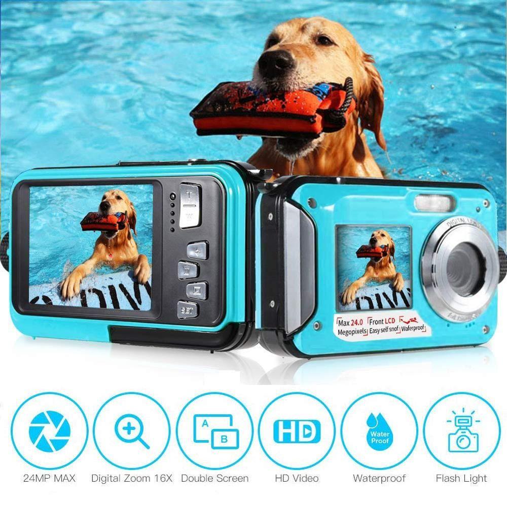Kids Underwater Digital Camera 10ft Waterproof Dual Screen Full HD Video Recorder 24MP Professional Children Kamera For Sports