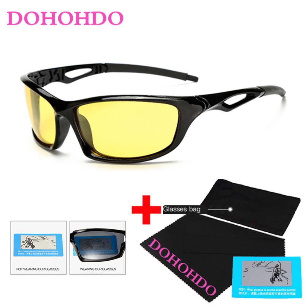 Occhiali da sole polarizzati dohohdo per faro notturno guida visione occhiali giallo obiettivo UV400 Protezione Night Eyewear per autista