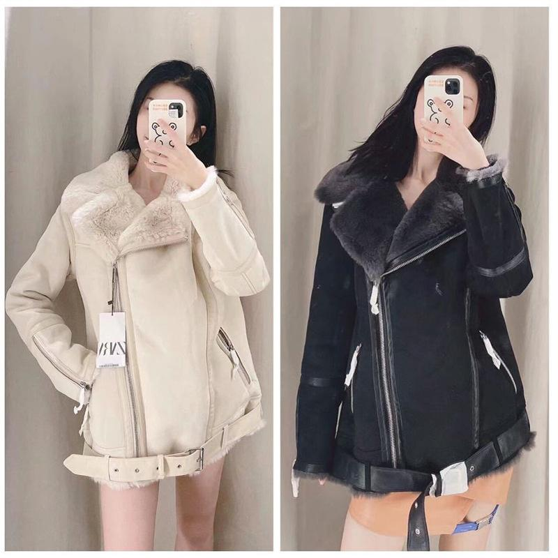 Yiciya Beige Bolsillos de manga larga de la vendimia Femenino Outwear Chic Tops Mujeres 2021 Moda con piel de gamuza Faux Abrigo de chaqueta caliente Q0119