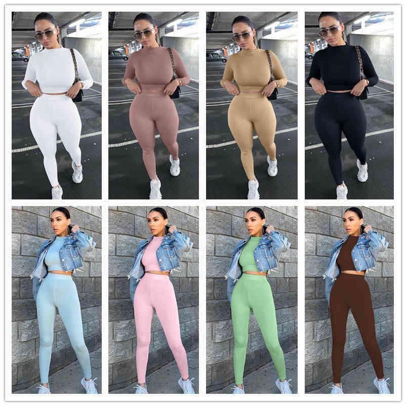 Kadınlar İki Adet Set Eşofman Katı İnce Uzun Kollu Tayt Nefes T Gömlek Kalem Pantolon Spor Suits Bayanlar Rahat Giysiler