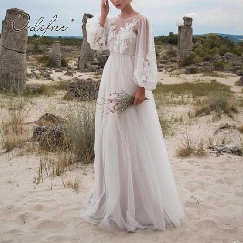 Ordufree 2021 Yaz Kadın Uzun Tül Elbise Uzun Kollu Nakış Beyaz Maxi Tunik Plaj Elbise 210303