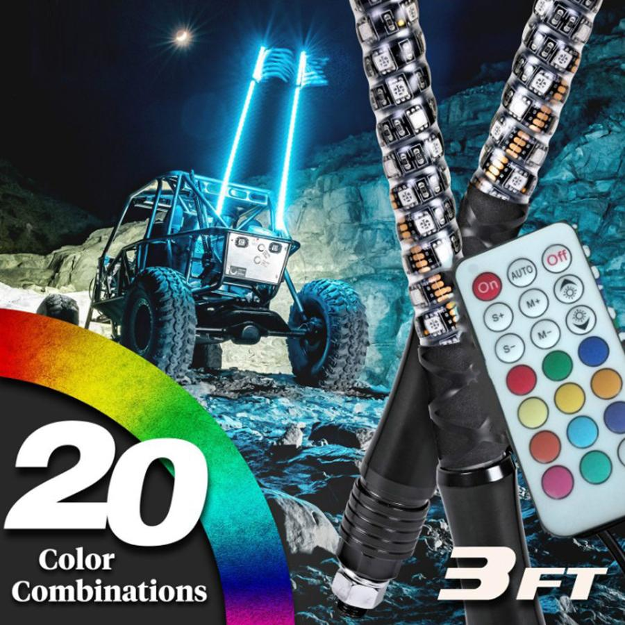 New Durable 3/4/5/6ft RGB Colorful Wireless Remote Control Spiral Chasing LED Flag Whip Lights For ATV UTV Wrangler Offroad 12V Universal