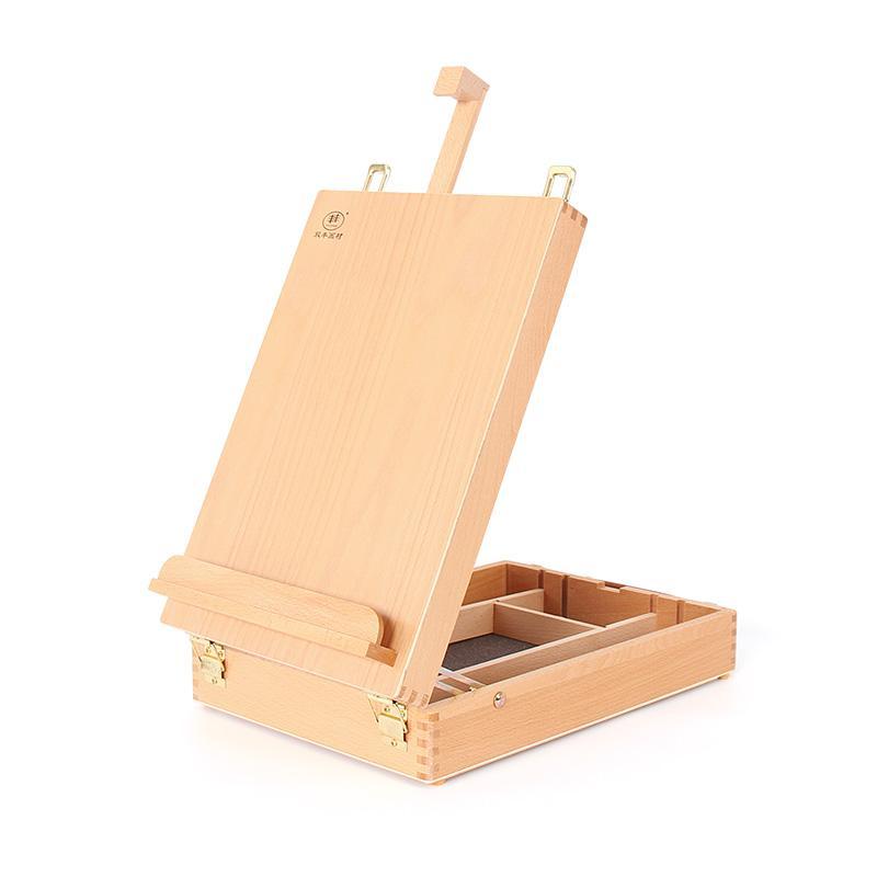 Waco Table Top Moster, Premium Beechwood Sketchbox для покраски, Деревянный Художник Настольный Часовой корпус Удобно и Портативный для нести