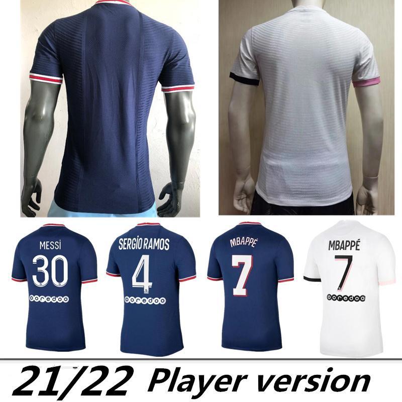 Versão do jogador Messi Mbappe Hakimi Sergio Ramos Wijnaldum Jersey 21 22 Maillots Camisa de Futebol 2021 2022 Marquinhos Homens Kit Uniforme Enfants Maillot de pé