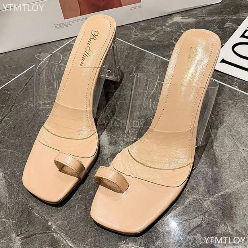 Moda Transparente Sandálias Mulheres PVC Cristal Open Toe Slippers Plus Tamanho 35-42 Zapatillas Mujer Casa Sapatos Femininos