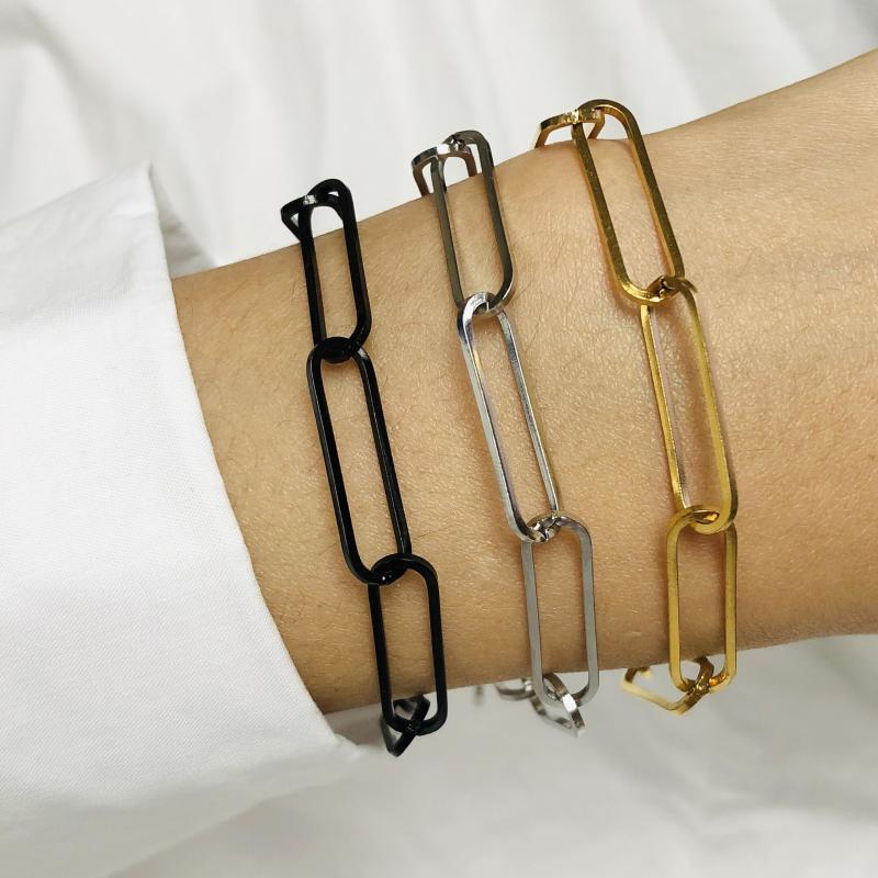 Collegamento, catena in acciaio inox U collegamento braccialetto Punk coppia donna semplici bracciali in oro nero