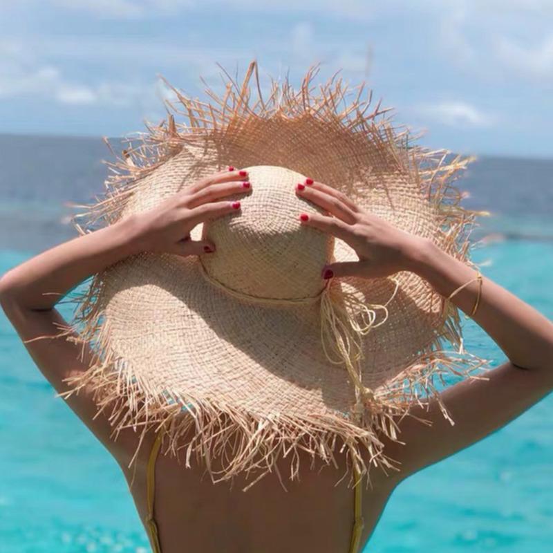 Verão Mulheres Handmade Natural Raffia Chapéu de Palha Menina de Alta Qualidade Panamá Grande Brim Sun Hats Beach Holiday Holiday Caps J0226