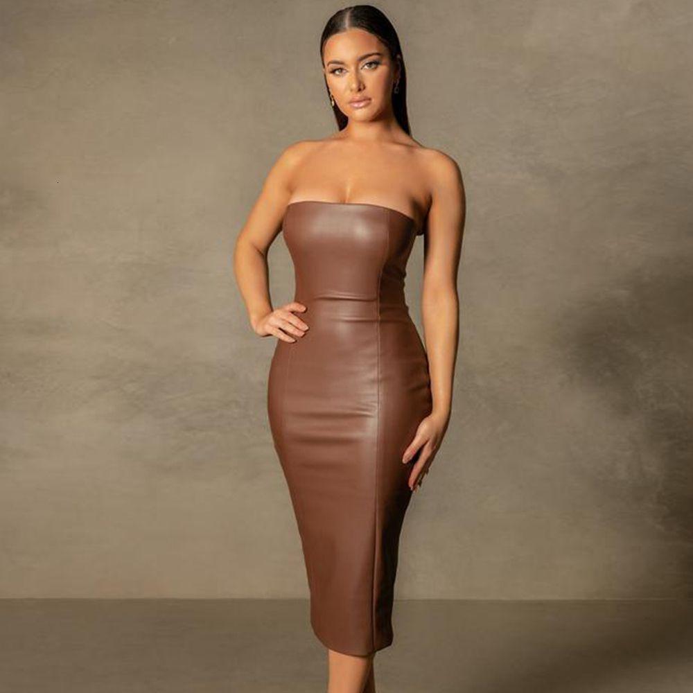2021 New Summer Women Elegant Strapless Black Pu Midi Sexy Sleeveless Club Celebrity Evening Runway Party Lady 4kmh