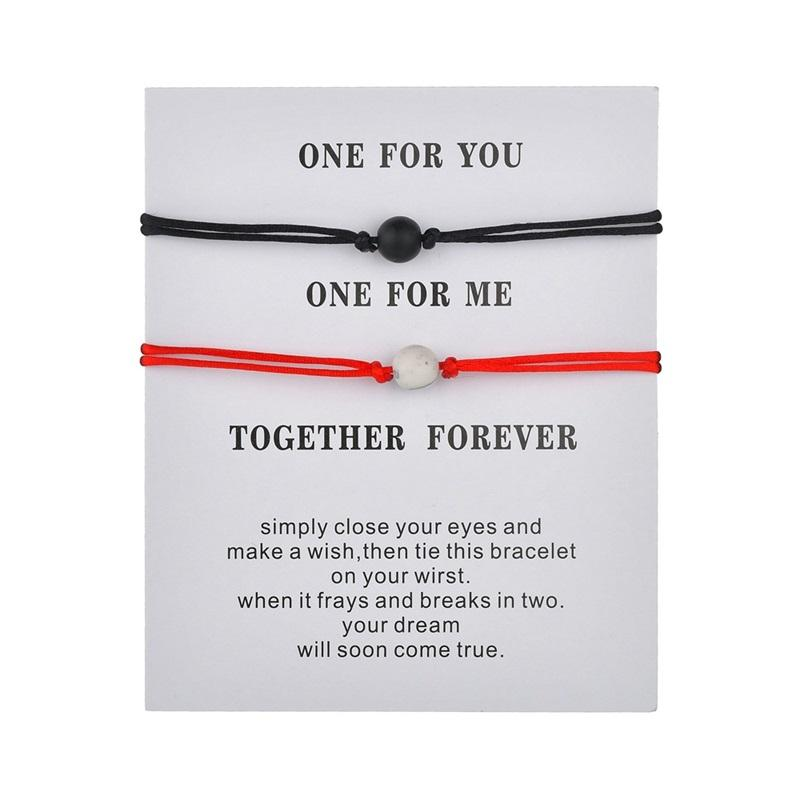 무광택 용암 돌 자연석 구슬 팔찌 빨간색 문자열 땋는 커플 남자를위한 팔찌 소원 보석 카드와 함께 여자를위한 159 Q2