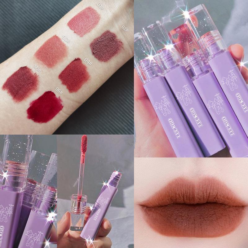 Lip Gloss 6 Farbe Matte Lippenstift Set Velvet Glasur Charme dauerhaft Nicht-Fading-Make-Up Butt666