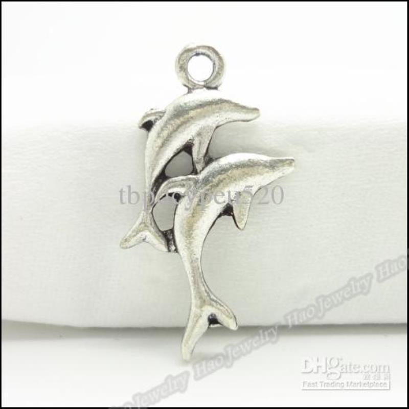 Два подходящих 150 шт. / LO LOLOY Подвески Dolphin Plated Античный браслет DIY Ожерелье Серебряный Ювелирные Изделия Подвеска Tefou