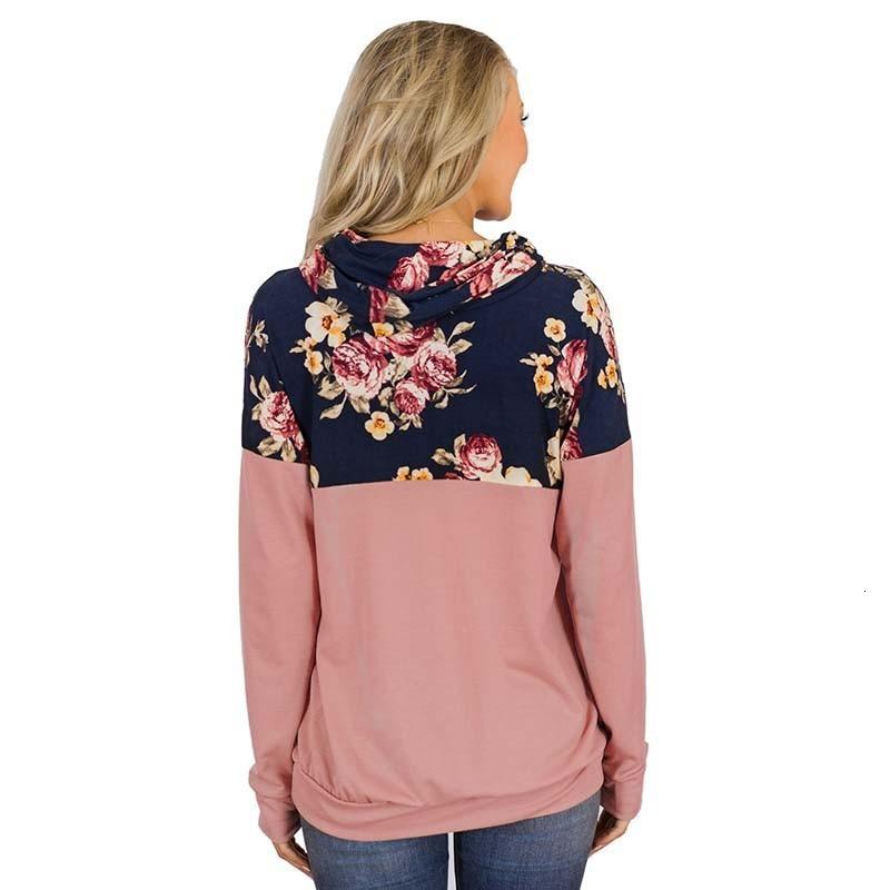 2021 Neue Herbst Winter Blumendruck Sweatshirt für Frauen Langarm Plus Size Mode Hoodies Tops Vintage Pullover Sweatshirts U7V4