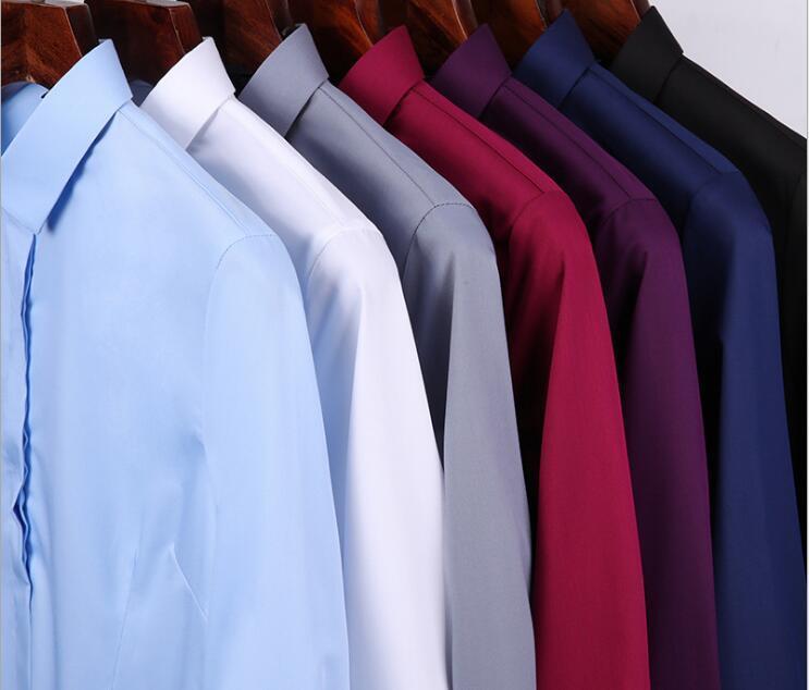 Mens Solid Color Slim Fit Casual Business Clothing Langärmliges Hemd Herren Kleidungskleidung Männer Lässige Hemden