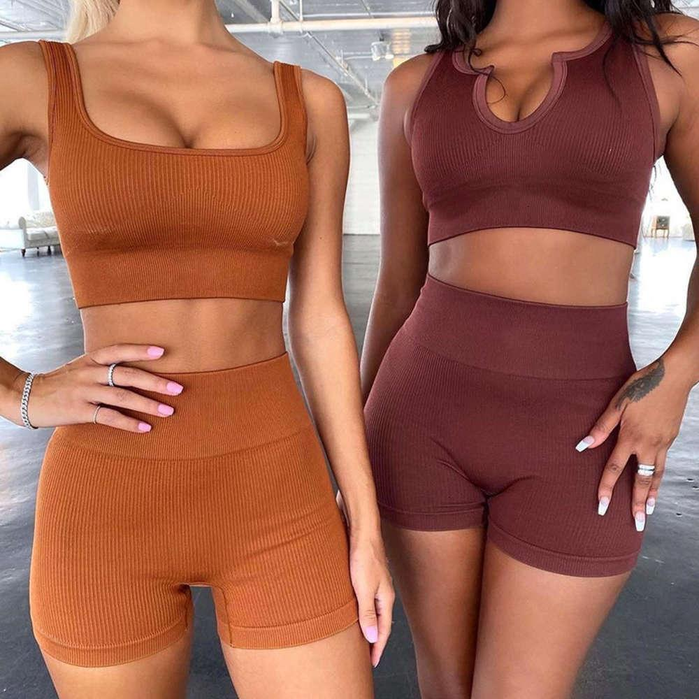 2021 new ins seamless knitting Sexy Sports short sleeve shorts tracksuit