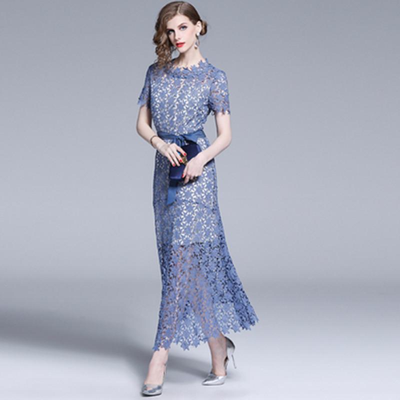 2021 новое старинное твердое кружево короткое платье женщины синяя крышка рукав ремень V-образным вырезом A-Line Элегантная вечерняя свадьба вечеринка летняя одежда IKDX