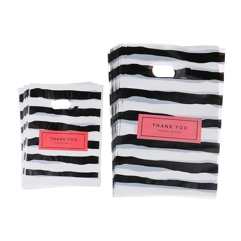 Cadeau cadeau 50pcs Design Sacs d'emballage à rayures Blackwhite pour petites poches