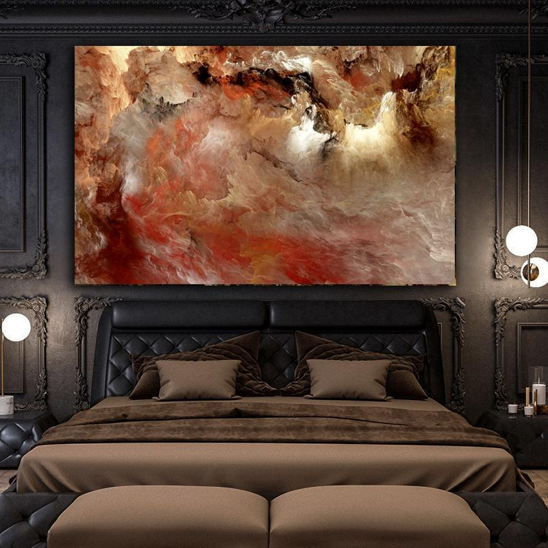 Wangart large size grey red cloud Oil Painting Wall Picture For Living Room Canvas Modern Art Poster And Print