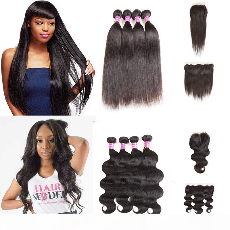 Fastyle Brasilian Human Hair 4bundles con cierre Bronceian Body Wave Bundles con cierre al por mayor Wholessed Virgin Hair Weaves
