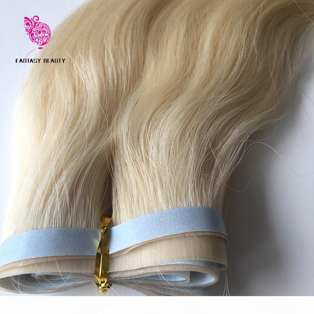 Uncut 100G 18 дюймов до 30 INCEHS # 613 Прямая перуанская REMY PU ленты кожи уток уток в наращиваниях волос