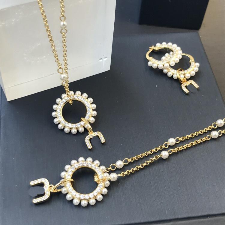 70% de rabais Collier Bracelet Plein Diamond Perle Lettre femelle M Ronde asymétrique Boucles d'oreilles amovibles Deux or 8Rlx
