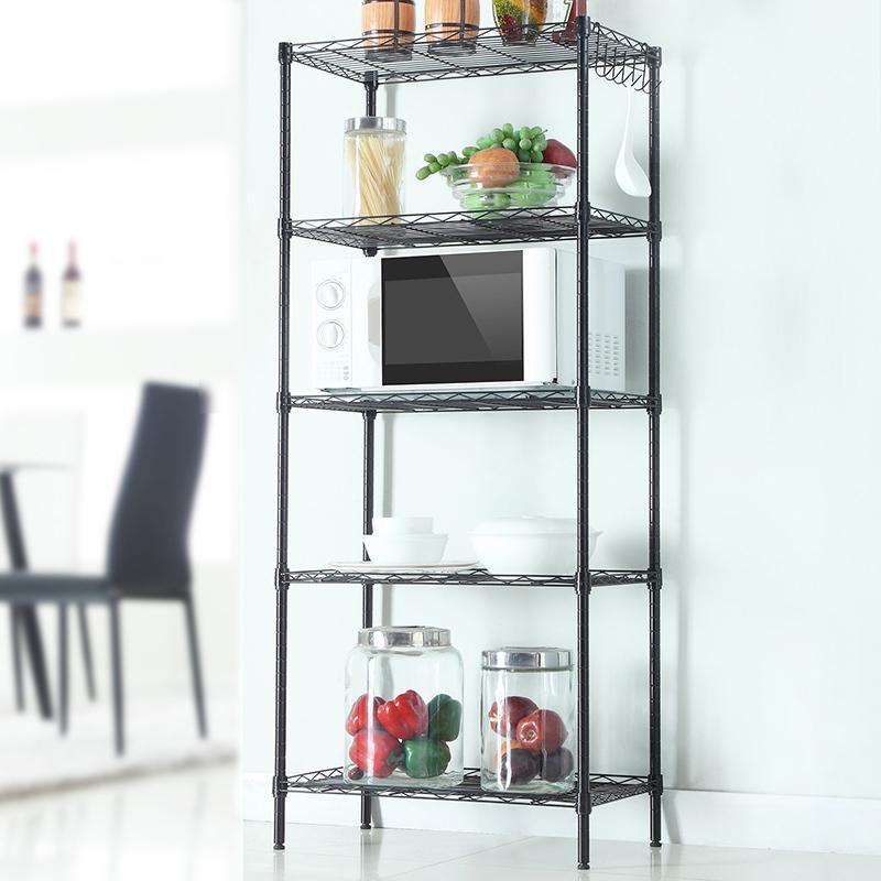 5 níveis de armazenamento de metal prateleira 5 prateleiras de prateleiras de prateleiras de cozinha shelving cozinha armazenamento de cozinha Novo estoque dos EUA
