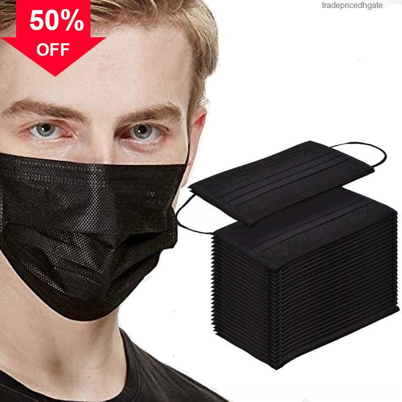 Защитные лица для лица одноразовые J7NVR нетканые маски Новый пыленепроницаемый синий 3-слойный черный ткань маска для маски ткани унисекс против пыли рот нос